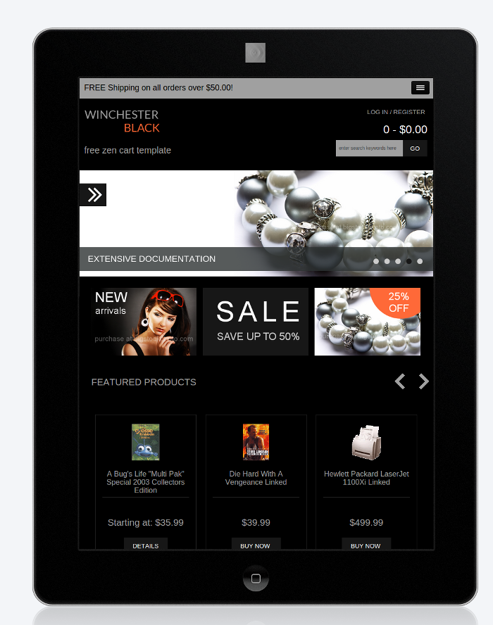Responsive mobile zen cart template winchester black for Free responsive zen cart templates